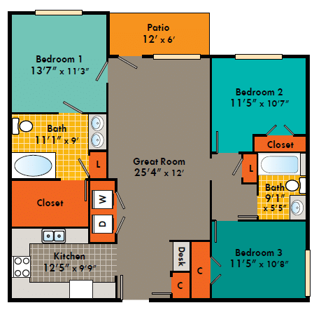 Three bedroom Apartment Fayetteville NC