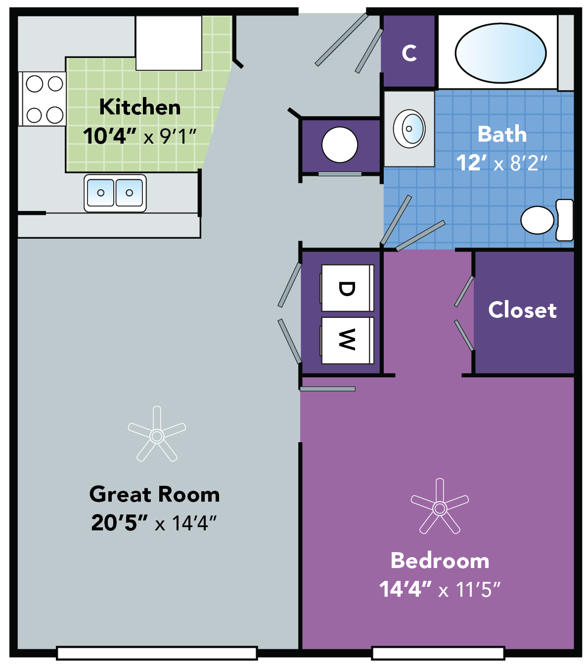 One Bedroom Apartments in Fayetteville, NC - Stone Ridge Apts - Riley FP